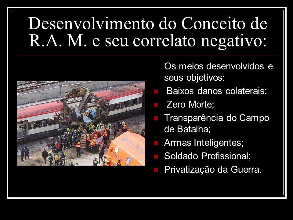 Desenvolvimento do Conceito de R.A. M. e seu correlato negativo: Os meios desenvolvidos e seus objetivos: Baixos danos colaterais; Zero Morte; Transpa