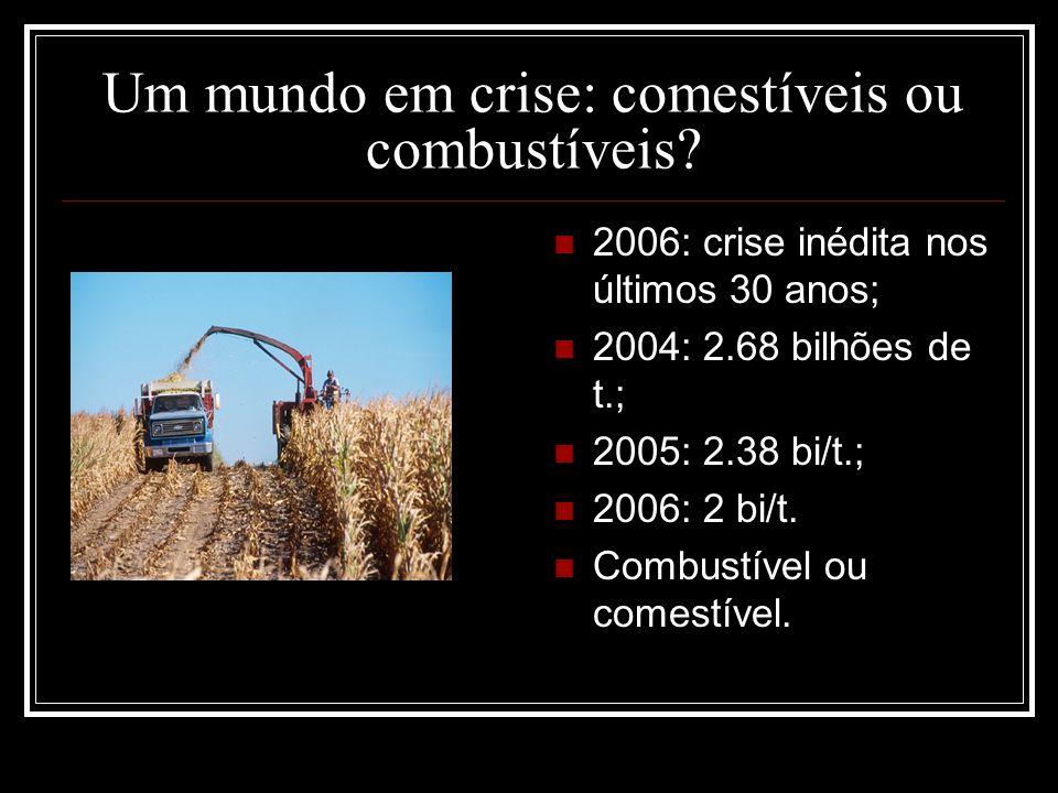 Um mundo em crise: comestíveis ou combustíveis? 2006: crise inédita nos últimos 30 anos; 2004: 2.68 bilhões de t.; 2005: 2.38 bi/t.; 2006: 2 bi/t. Com