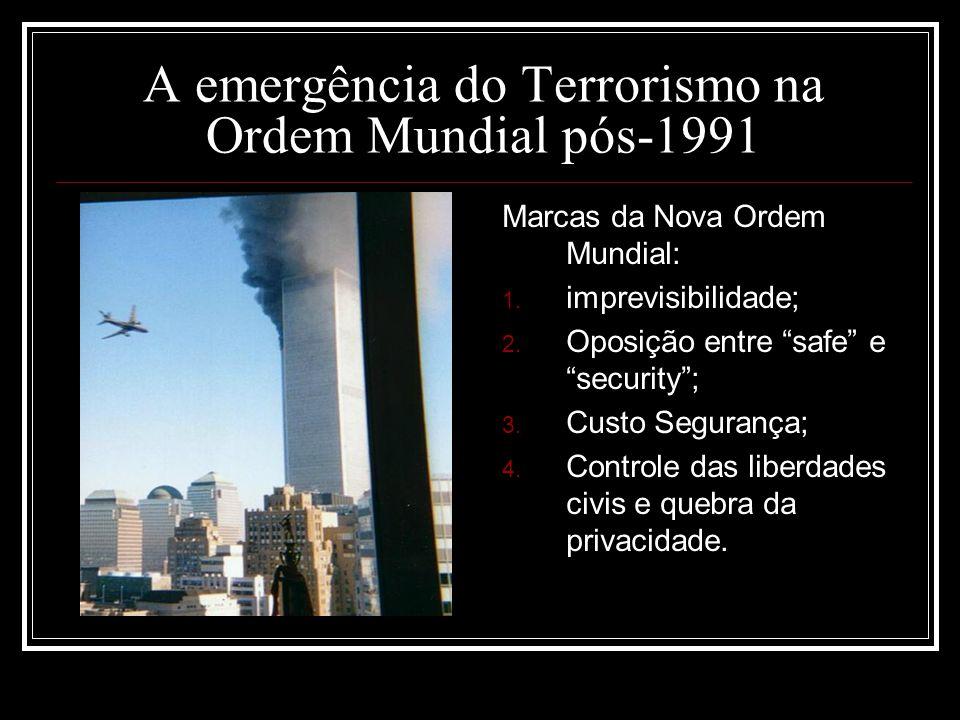 A emergência do Terrorismo na Ordem Mundial pós-1991 Marcas da Nova Ordem Mundial: 1. imprevisibilidade; 2. Oposição entre safe e security; 3. Custo S