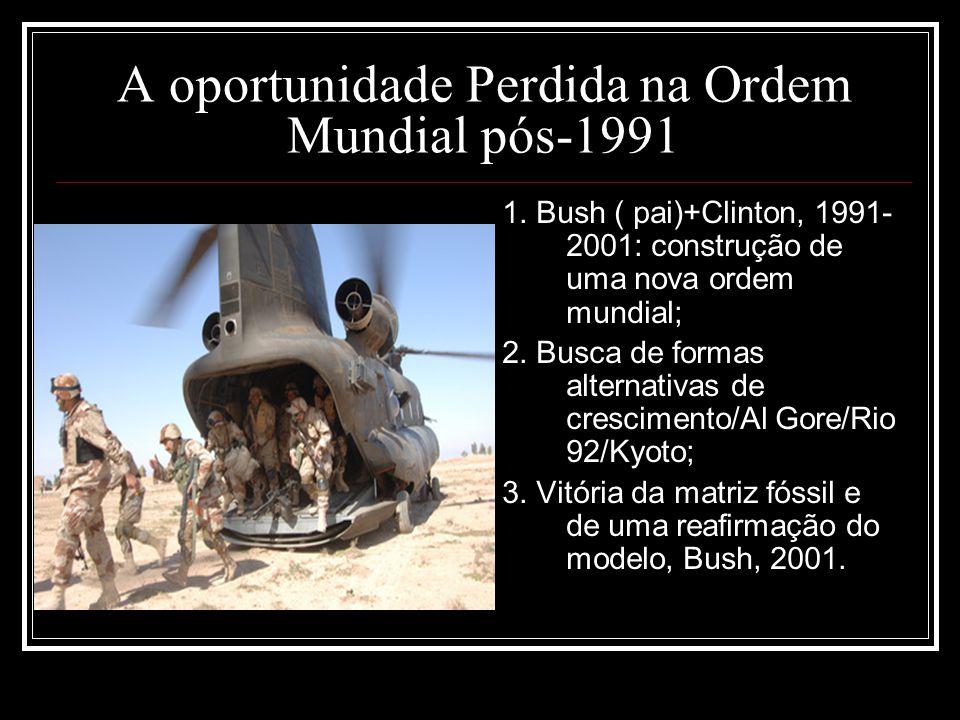 A oportunidade Perdida na Ordem Mundial pós-1991 1. Bush ( pai)+Clinton, 1991- 2001: construção de uma nova ordem mundial; 2. Busca de formas alternat