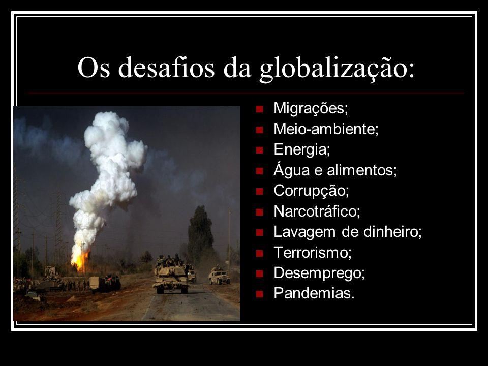 Os desafios da globalização: Migrações; Meio-ambiente; Energia; Água e alimentos; Corrupção; Narcotráfico; Lavagem de dinheiro; Terrorismo; Desemprego
