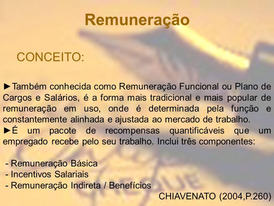 Remuneração CONCEITO: Também conhecida como Remuneração Funcional ou Plano de Cargos e Salários, é a forma mais tradicional e mais popular de remunera