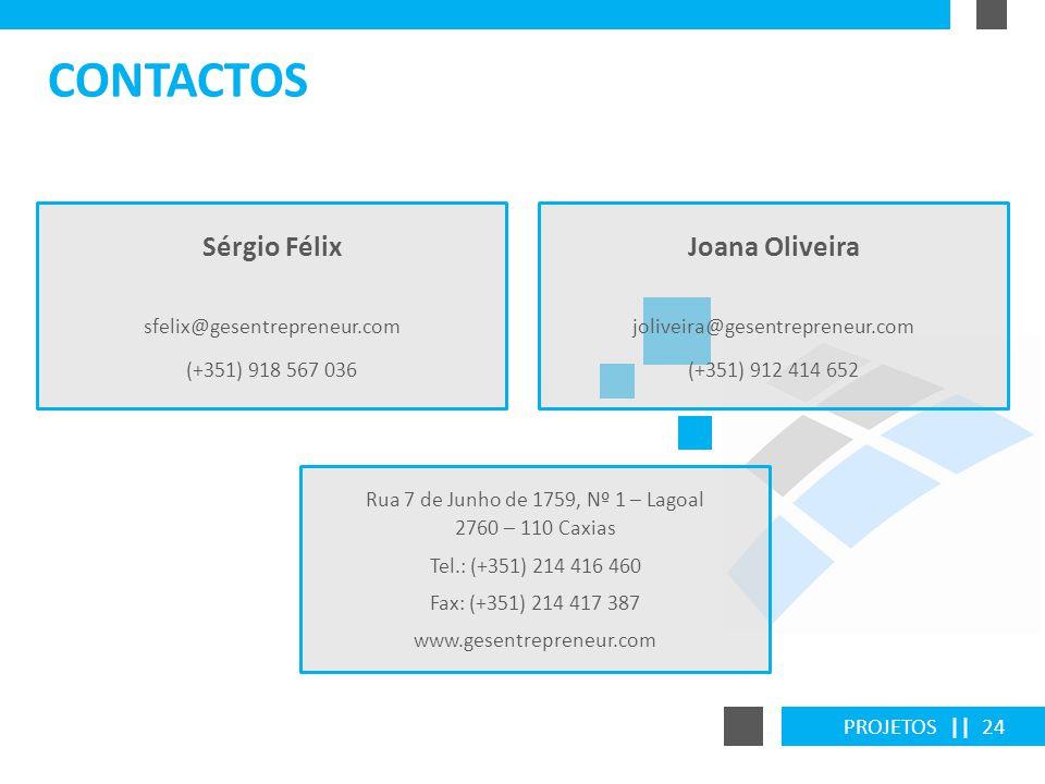 PROJETOS || 24 CONTACTOS Sérgio Félix sfelix@gesentrepreneur.com (+351) 918 567 036 Rua 7 de Junho de 1759, Nº 1 – Lagoal 2760 – 110 Caxias Tel.: (+35
