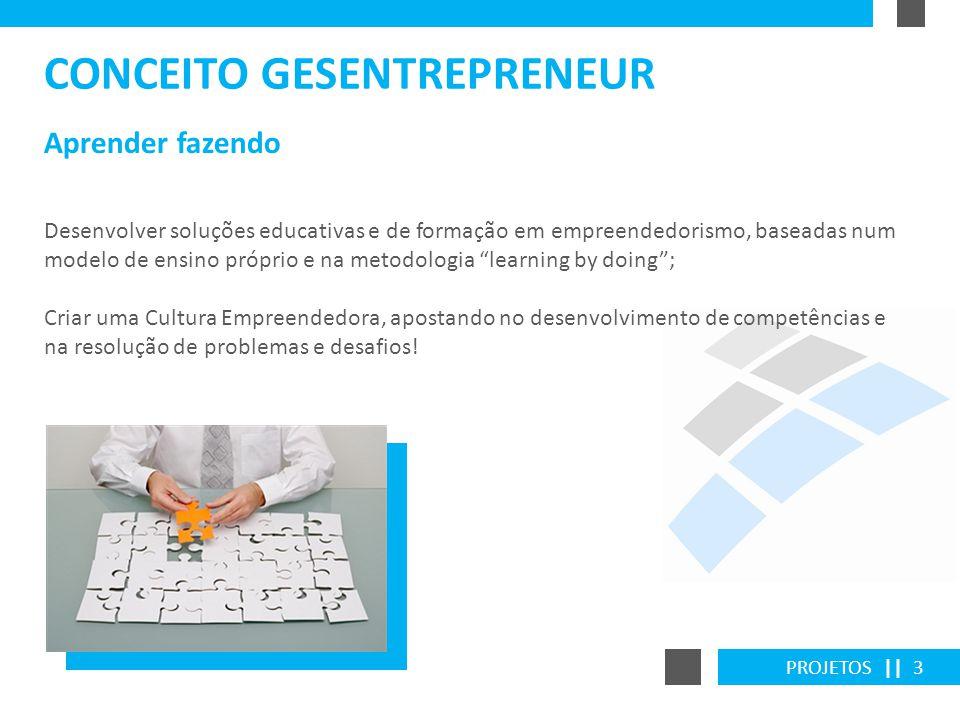 PROJETOS || 3 Aprender fazendo CONCEITO GESENTREPRENEUR Desenvolver soluções educativas e de formação em empreendedorismo, baseadas num modelo de ensi
