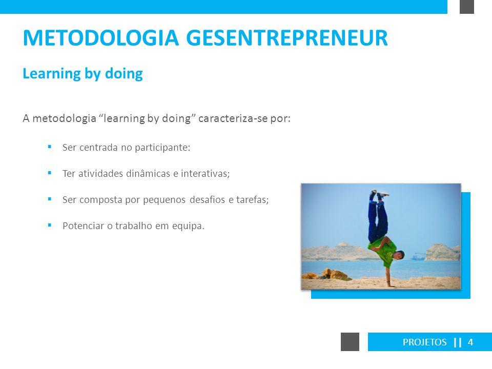 PROJETOS || 4 Learning by doing METODOLOGIA GESENTREPRENEUR A metodologia learning by doing caracteriza-se por: Ser centrada no participante: Ter ativ