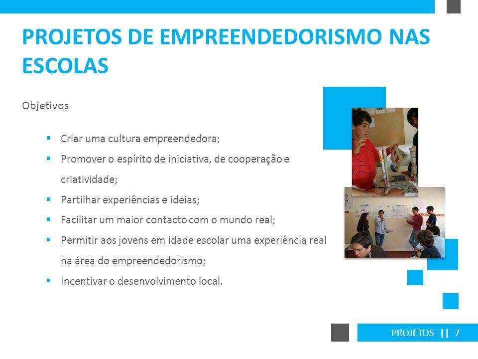 PROJETOS || 7 PROJETOS DE EMPREENDEDORISMO NAS ESCOLAS Objetivos Criar uma cultura empreendedora; Promover o espírito de iniciativa, de cooperação e c