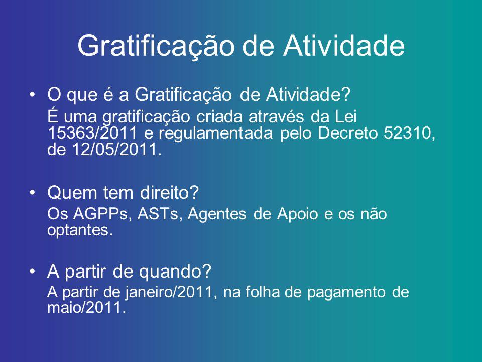 Gratificação de Atividade O que é a Gratificação de Atividade? É uma gratificação criada através da Lei 15363/2011 e regulamentada pelo Decreto 52310,