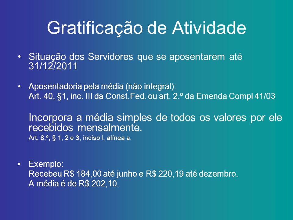 Gratificação de Atividade Situação dos Servidores que se aposentarem até 31/12/2011 Aposentadoria pela média (não integral): Art. 40, §1, inc. III da