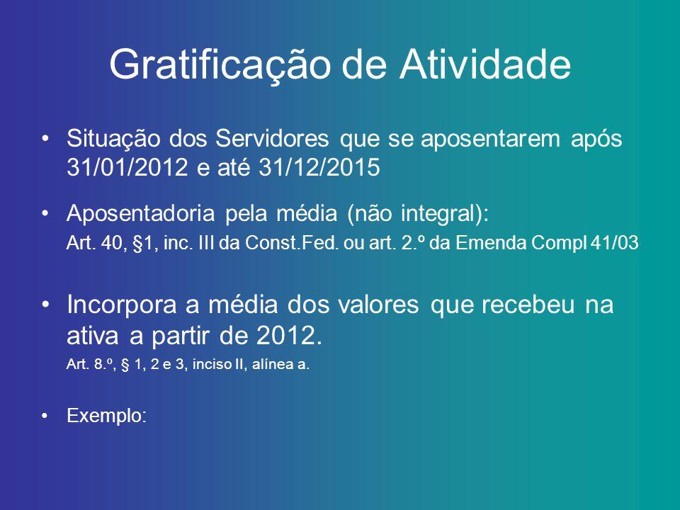 Gratificação de Atividade Situação dos Servidores que se aposentarem após 31/01/2012 e até 31/12/2015 Aposentadoria pela média (não integral): Art. 40