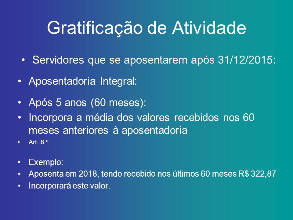 Gratificação de Atividade Servidores que se aposentarem após 31/12/2015: Aposentadoria Integral: Após 5 anos (60 meses): Incorpora a média dos valores
