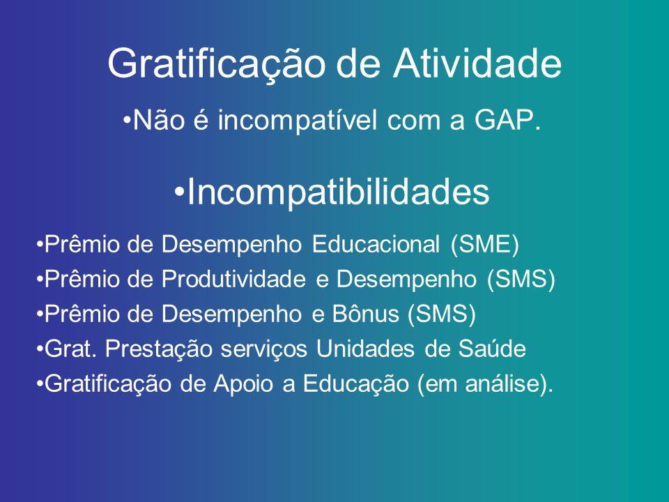 Gratificação de Atividade Não é incompatível com a GAP. Incompatibilidades Prêmio de Desempenho Educacional (SME) Prêmio de Produtividade e Desempenho