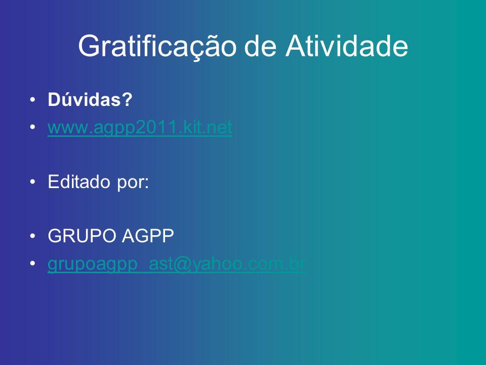 Gratificação de Atividade Dúvidas? www.agpp2011.kit.net Editado por: GRUPO AGPP grupoagpp_ast@yahoo.com.br