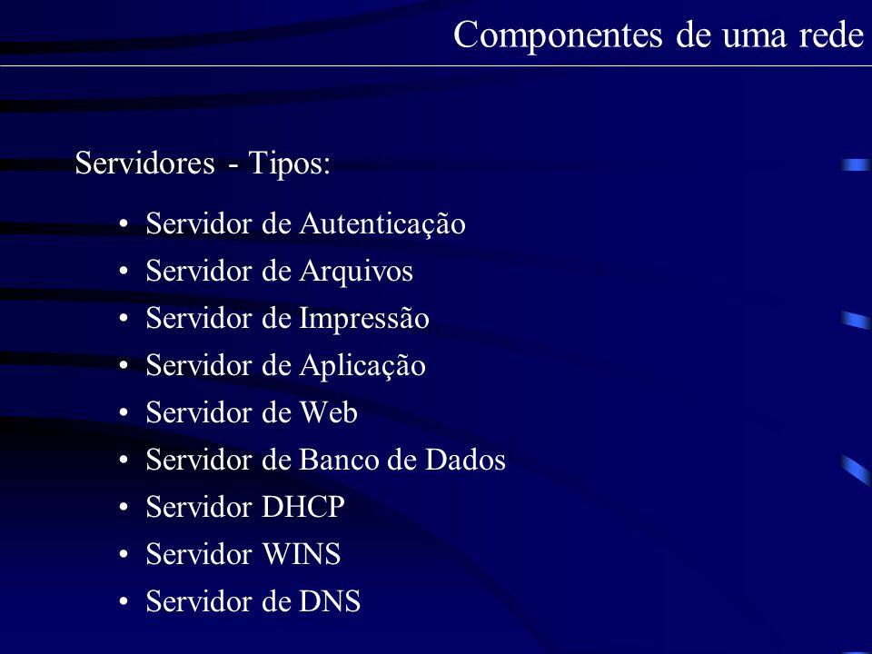 Servidor DHCP Vantagens do serviço de DHCP: Pode-se ter mais de um servidor DHCP em um mesmo ambiente corporativo; A configuração dos endereços IPs para as máquinas é feita de forma centralizada e automática – basta configurar um único local; Componentes de uma rede