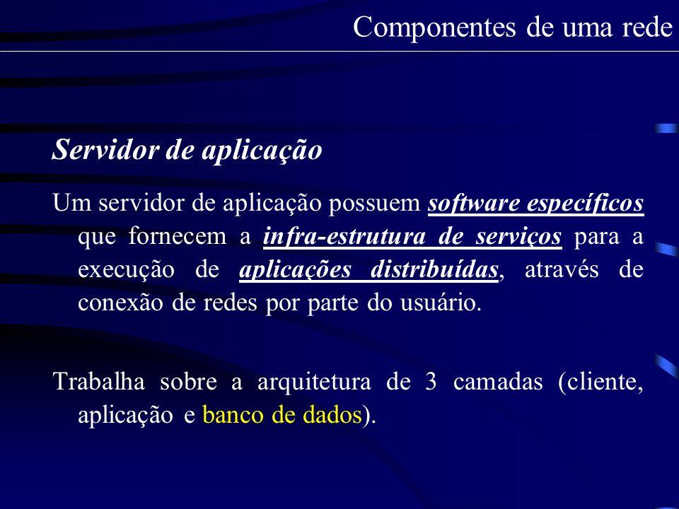 Servidor de aplicação As três camadas: A 1 camada (Front-End) usualmente feita via browsers serve para a realização da autenticação ( aplicação e transporte ); A 2 camada é a aplicação sendo executada no servidor devido a solicitação do usuário ( direitos de arquivos e pastas ); A 3 camada é o servidor de banco de dados garimpando e fornecendo informações aos usuários ( integração de serviços - interoperabilidade ).