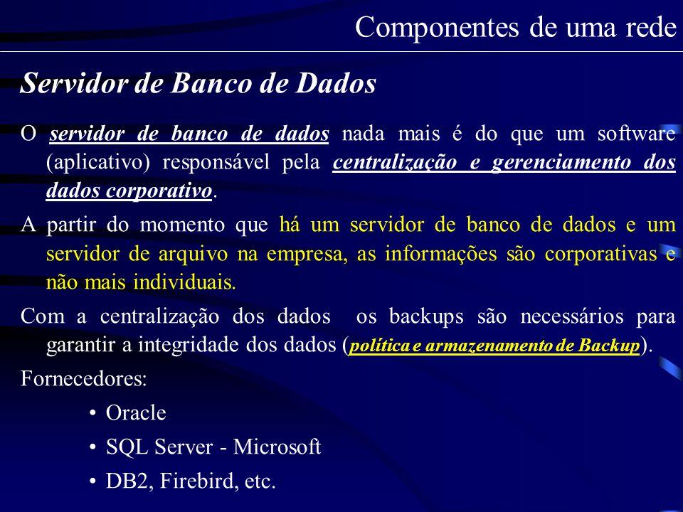 Servidor de Web É um servidor que possui um aplicativo responsável a fornecer ao computador do cliente, de forma on-line, os dados solicitados via web.