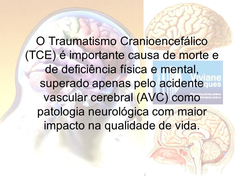 O Traumatismo Cranioencefálico (TCE) é importante causa de morte e de deficiência física e mental, superado apenas pelo acidente vascular cerebral (AV