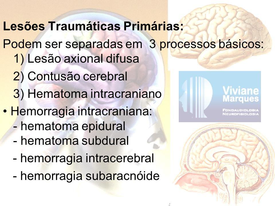 Lesões Traumáticas Primárias: Podem ser separadas em 3 processos básicos: 1) Lesão axional difusa 2) Contusão cerebral 3) Hematoma intracraniano Hemor