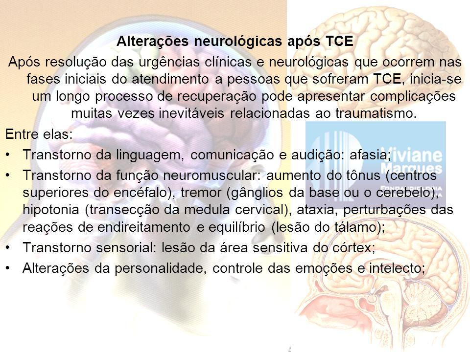 Alterações neurológicas após TCE Após resolução das urgências clínicas e neurológicas que ocorrem nas fases iniciais do atendimento a pessoas que sofr