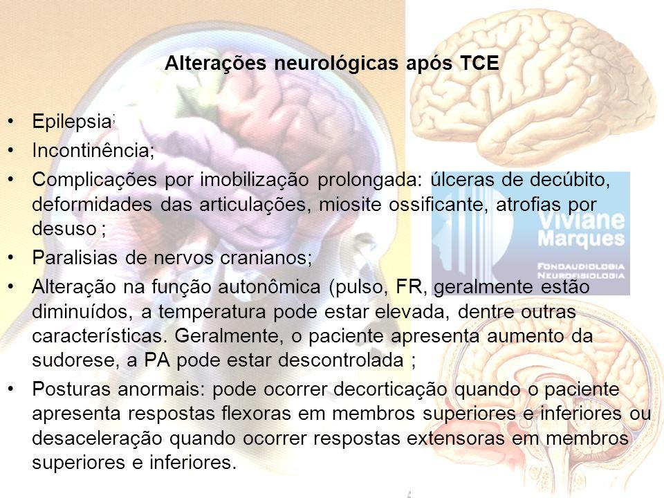 Alterações neurológicas após TCE Epilepsia ; Incontinência; Complicações por imobilização prolongada: úlceras de decúbito, deformidades das articulaçõ