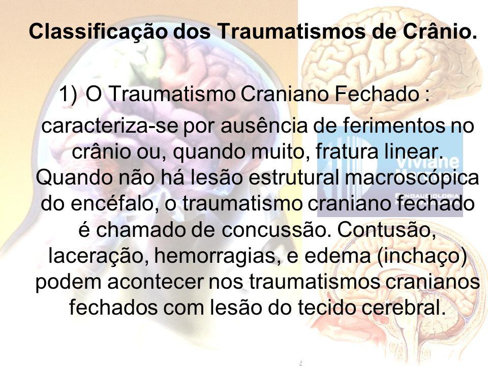 Classificação dos Traumatismos de Crânio. 1)O Traumatismo Craniano Fechado : caracteriza-se por ausência de ferimentos no crânio ou, quando muito, fra