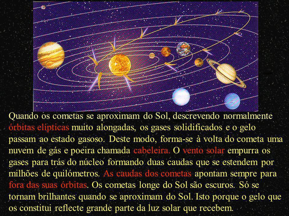 Cometa – corpo celeste constituído, principalmente, por gelo, grãos de poeira e gás e que descrevem órbitas em torno do Sol. Possui um núcleo que, qua
