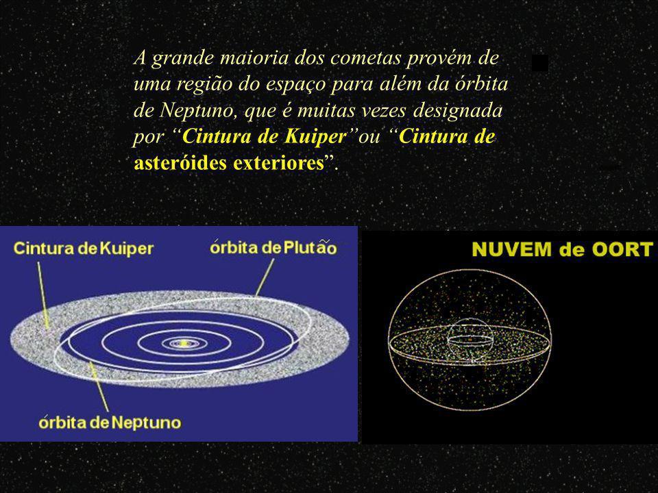 Quando os cometas se aproximam do Sol, descrevendo normalmente órbitas elípticas muito alongadas, os gases solidificados e o gelo passam ao estado gas