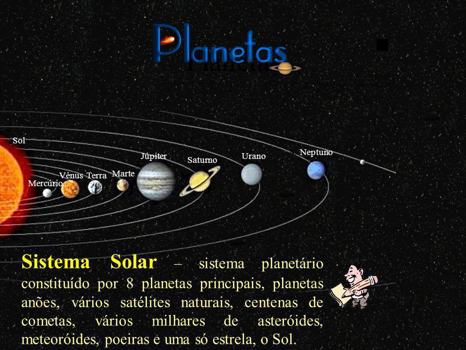 Planetas Terra Mercúrio Vénus Marte Júpiter Saturno Urano Neptuno Sol Sistema Solar – sistema planetário constituído por 8 planetas principais, planetas anões, vários satélites naturais, centenas de cometas, vários milhares de asteróides, meteoróides, poeiras e uma só estrela, o Sol.