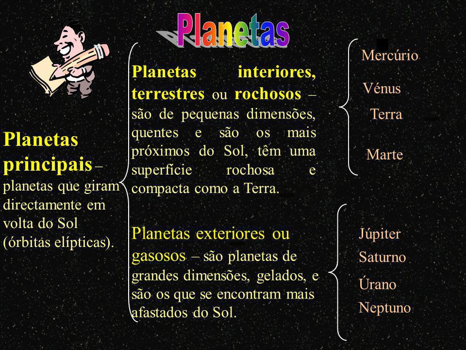 Planetas principais – planetas que giram directamente em volta do Sol (órbitas elípticas).