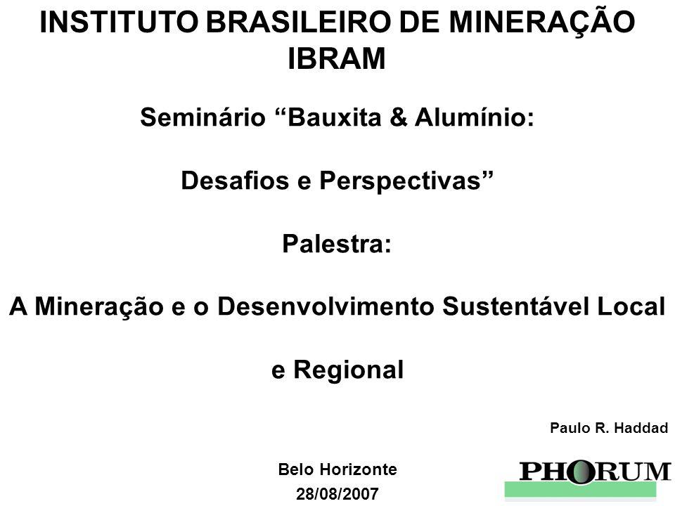 Belo Horizonte 28/08/2007 INSTITUTO BRASILEIRO DE MINERAÇÃO IBRAM Seminário Bauxita & Alumínio: Desafios e Perspectivas Palestra: A Mineração e o Dese