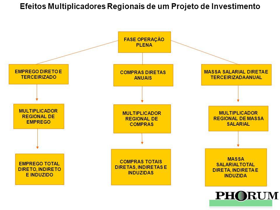 Efeitos Multiplicadores Regionais de um Projeto de Investimento EMPREGO DIRETO E TERCEIRIZADO COMPRAS DIRETAS ANUAIS MASSA SALARIAL DIRETA E TERCEIRIZ