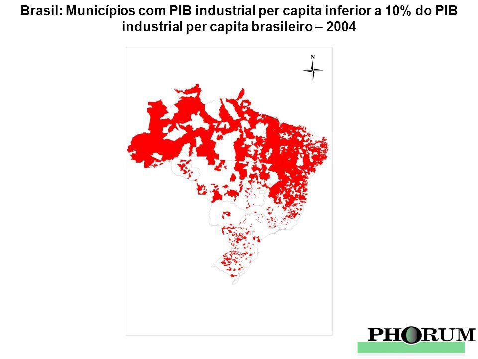 Brasil: Municípios com PIB industrial per capita inferior a 10% do PIB industrial per capita brasileiro – 2004