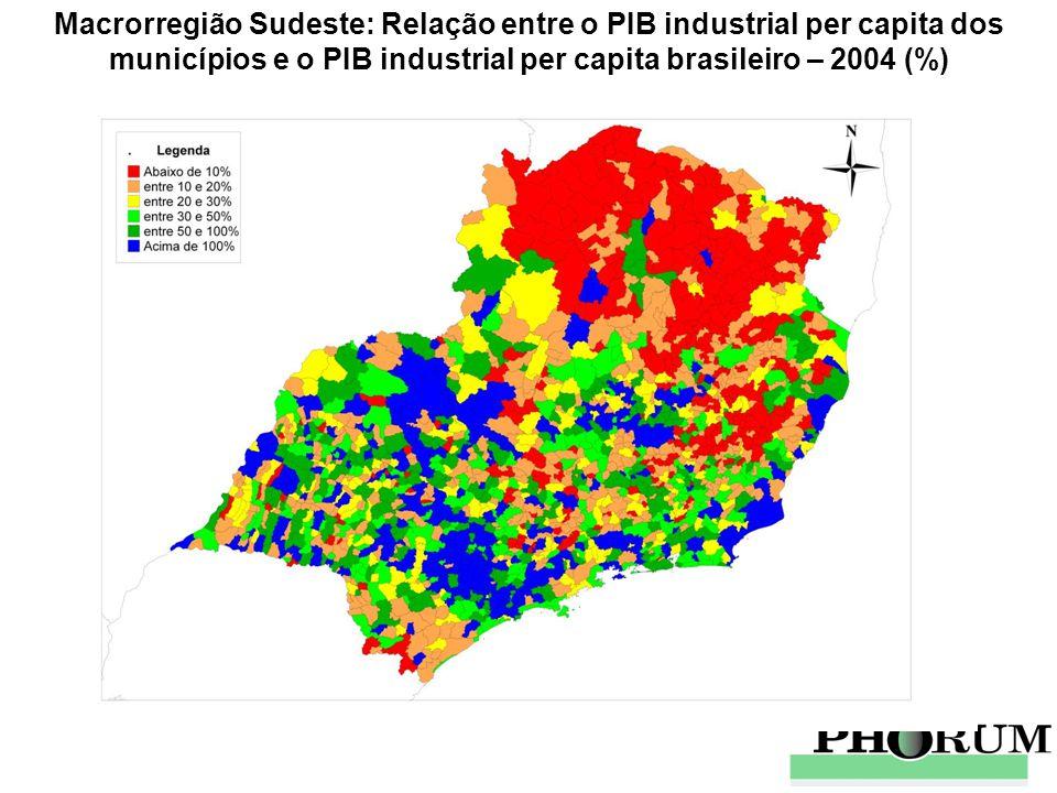 Macrorregião Sudeste: Relação entre o PIB industrial per capita dos municípios e o PIB industrial per capita brasileiro – 2004 (%)