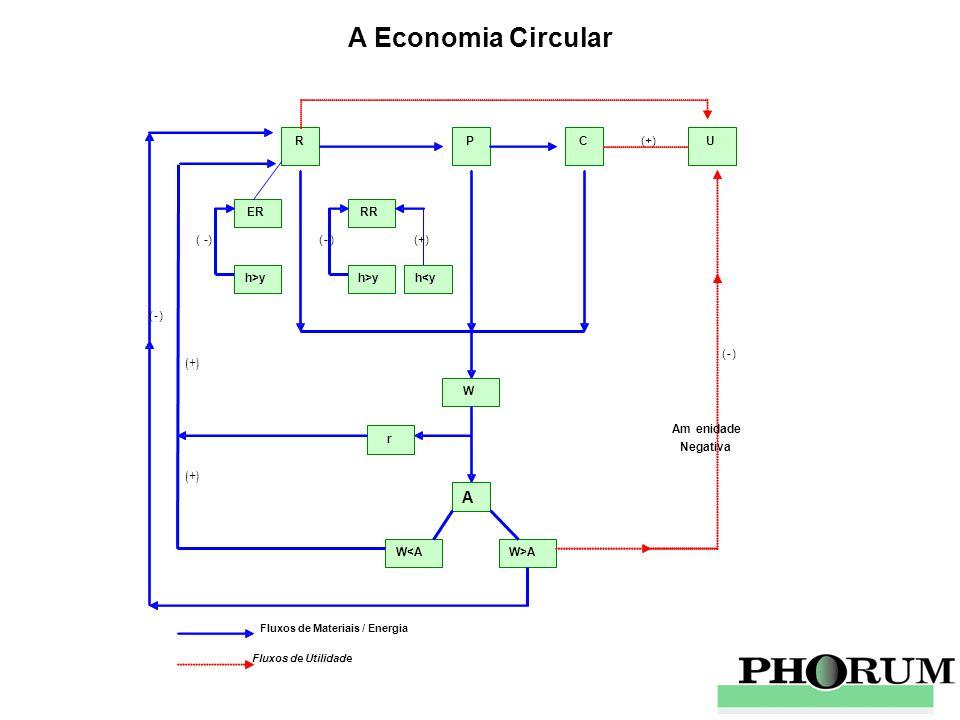 (+) Fluxos de Materiais / Energia Fluxos de Utilidade R P C U (+) ER h>y (-) RR h>y (-) h<y (+) W r A W<A W>A (-) (-) Amenidade Negativa A Economia Ci