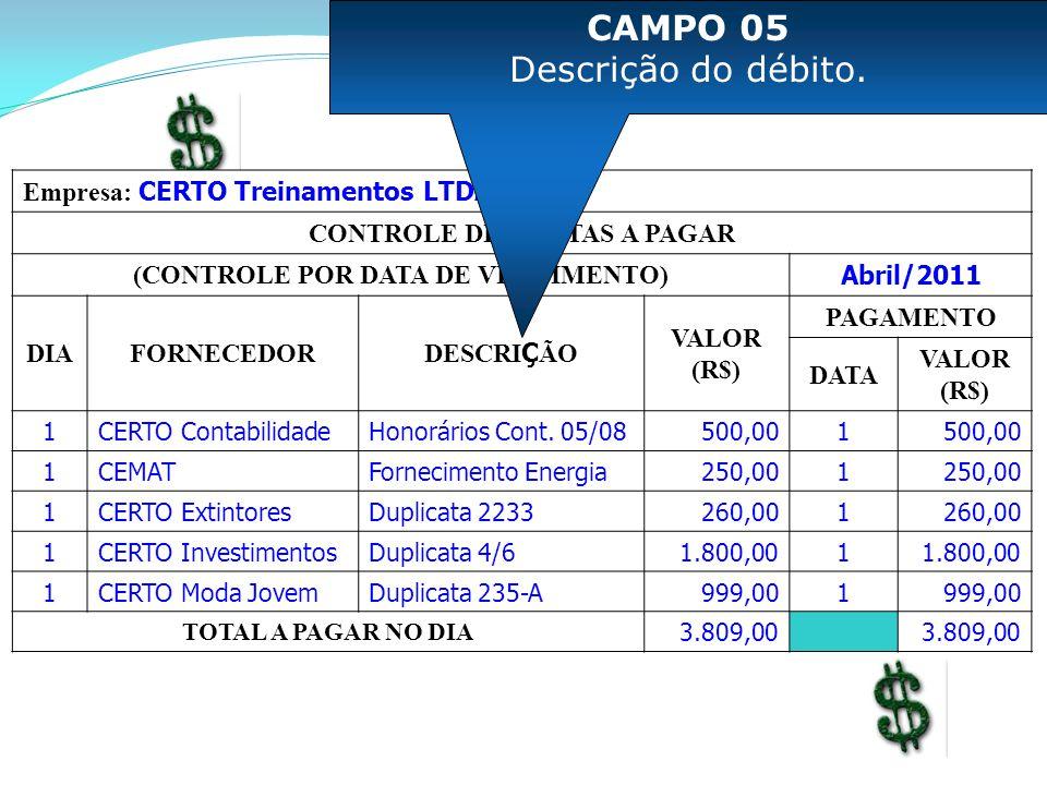 Empresa: CERTO Treinamentos LTDA - ME CONTROLE DE CONTAS A PAGAR (CONTROLE POR DATA DE VENCIMENTO) Abril/2011 DIAFORNECEDOR DESCRI Ç ÃO VALOR (R$) PAGAMENTO DATA VALOR (R$) 1CERTO ContabilidadeHonorários Cont.