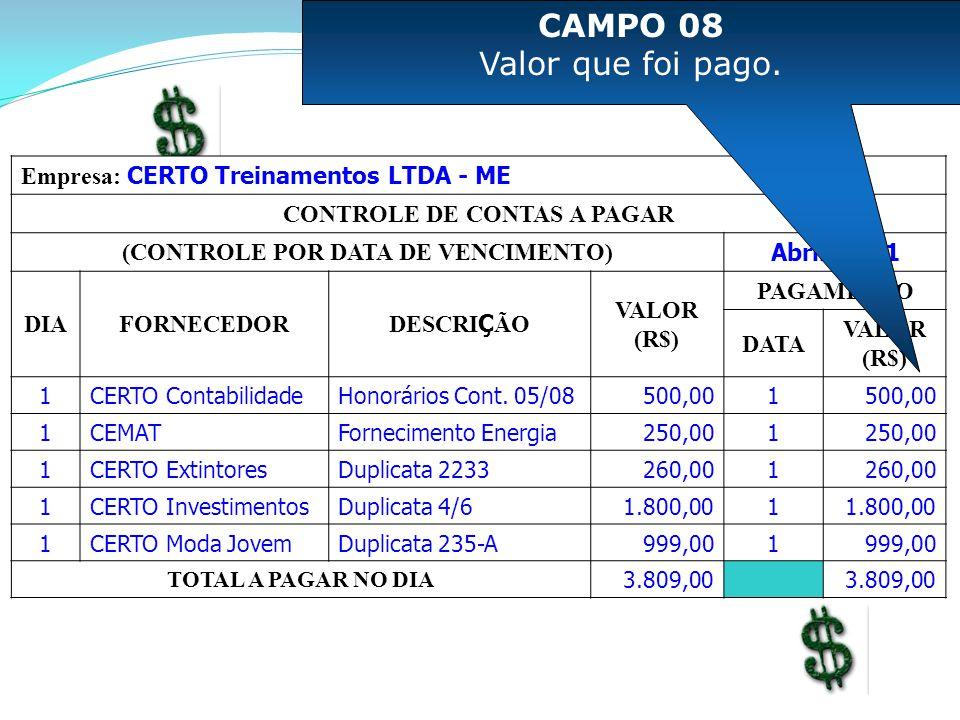 Empresa: CERTO Treinamentos LTDA - ME CONTROLE DE CONTAS A PAGAR (CONTROLE POR DATA DE VENCIMENTO) Abril/2011 DIAFORNECEDOR DESCRI Ç ÃO VALOR (R$) PAG