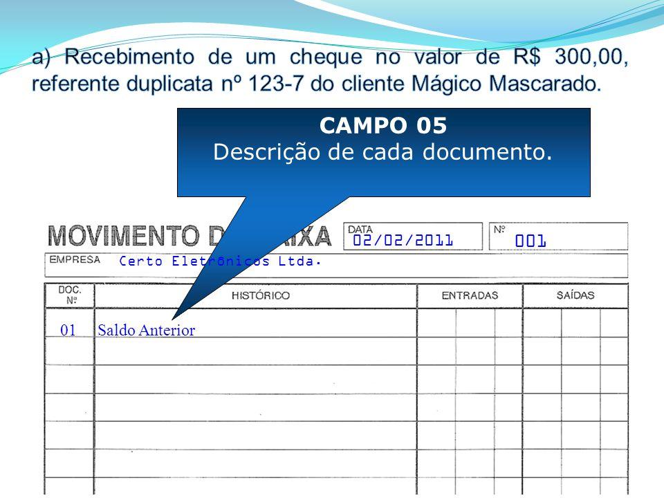 01 CAMPO 05 Descrição de cada documento. Saldo Anterior 001 Certo Eletrônicos Ltda. 02/02/2011