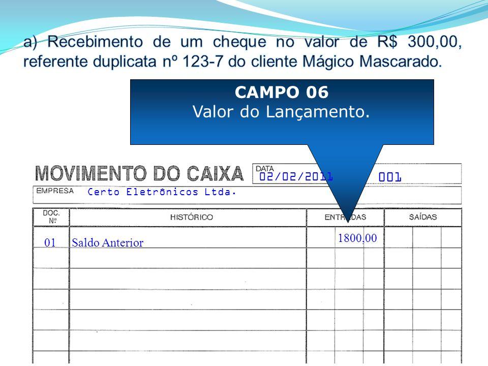 01 CAMPO 06 Valor do Lançamento. Saldo Anterior 001 Certo Eletrônicos Ltda. 02/02/2011 1800,00