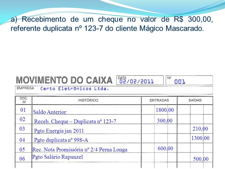 01 Saldo Anterior 001 Certo Eletrônicos Ltda.02/02/2011 1800,00 02 03 04 05 06 Receb.