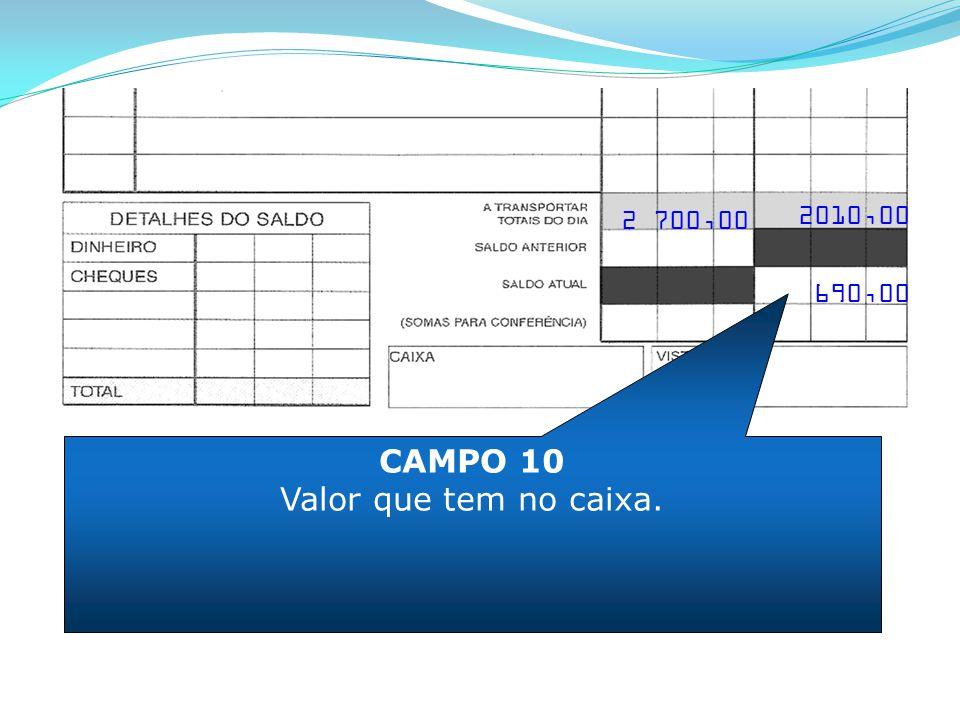 2 700,00 2010,00 CAMPO 10 Valor que tem no caixa. 690,00
