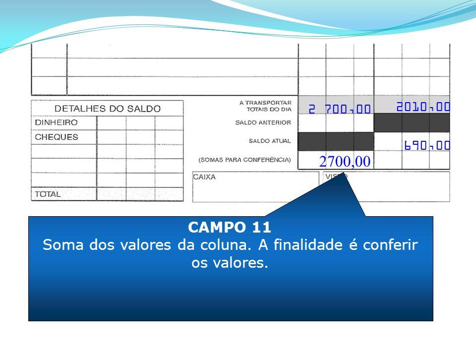 CAMPO 11 Soma dos valores da coluna. A finalidade é conferir os valores. 2700,00 2010,00 690,00