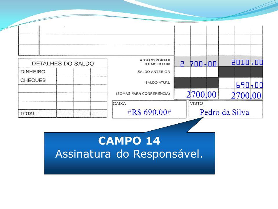 CAMPO 14 Assinatura do Responsável. #R$ 690,00# 2700,00 2010,00 690,00 2700,00 Pedro da Silva