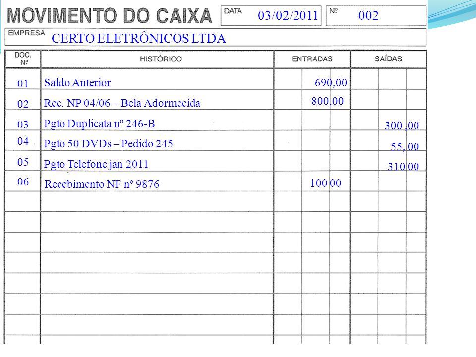 CERTO ELETRÔNICOS LTDA 00203/02/2011 01 Saldo Anterior690,00 02 Rec. NP 04/06 – Bela Adormecida 300,00 Pgto Duplicata nº 246-B 55, 00 03 Pgto 50 DVDs