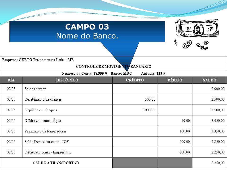 CAMPO 04 Número da Agência.