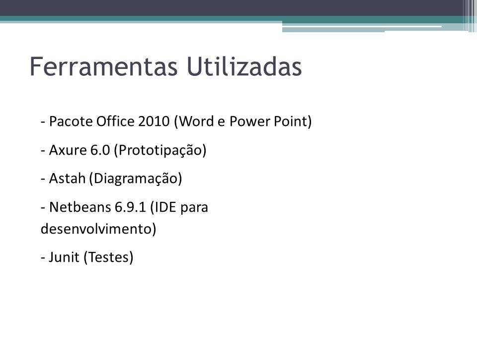 Ferramentas Utilizadas - Pacote Office 2010 (Word e Power Point) - Axure 6.0 (Prototipação) - Astah (Diagramação) - Netbeans 6.9.1 (IDE para desenvolv