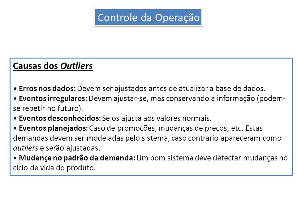 Causas dos Outliers Erros nos dados: Devem ser ajustados antes de atualizar a base de dados.