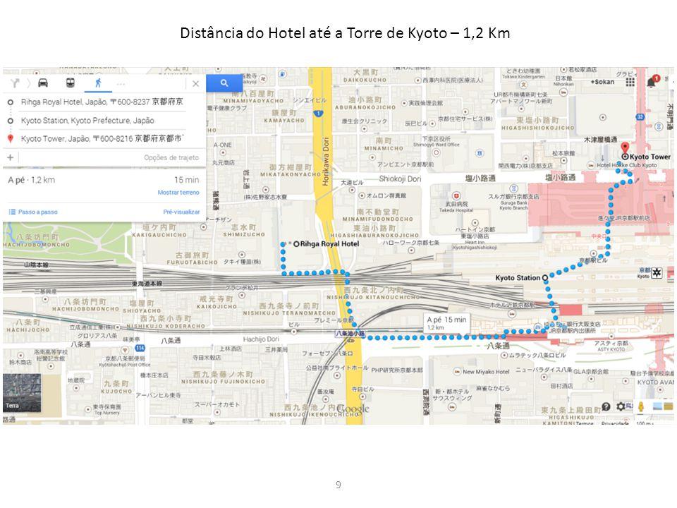 9 Distância do Hotel até a Torre de Kyoto – 1,2 Km
