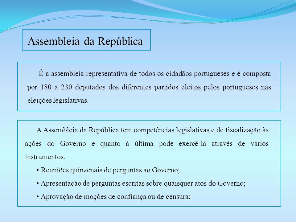Assembleia da República É a assembleia representativa de todos os cidadãos portugueses e é composta por 180 a 230 deputados dos diferentes partidos el