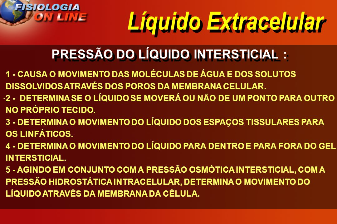 Líquido Extracelular PRESSÃO DO LÍQUIDO INTERSTICIAL : · · 1 - CAUSA O MOVIMENTO DAS MOLÉCULAS DE ÁGUA E DOS SOLUTOS DISSOLVIDOS ATRAVÉS DOS POROS DA