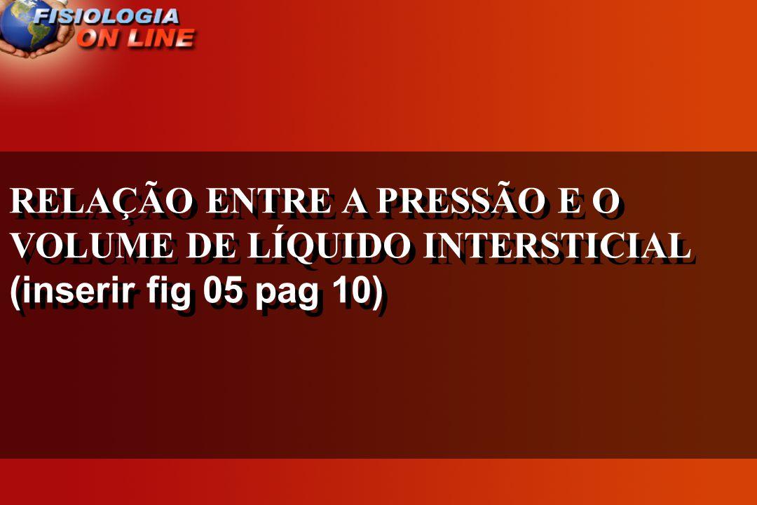 RELAÇÃO ENTRE A PRESSÃO E O VOLUME DE LÍQUIDO INTERSTICIAL (inserir fig 05 pag 10) RELAÇÃO ENTRE A PRESSÃO E O VOLUME DE LÍQUIDO INTERSTICIAL (inserir