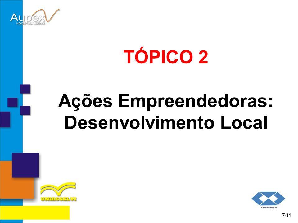 TÓPICO 2 Ações Empreendedoras: Desenvolvimento Local 7/11
